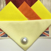 Yellow and Orange Hankie With Cream Flap and Pin